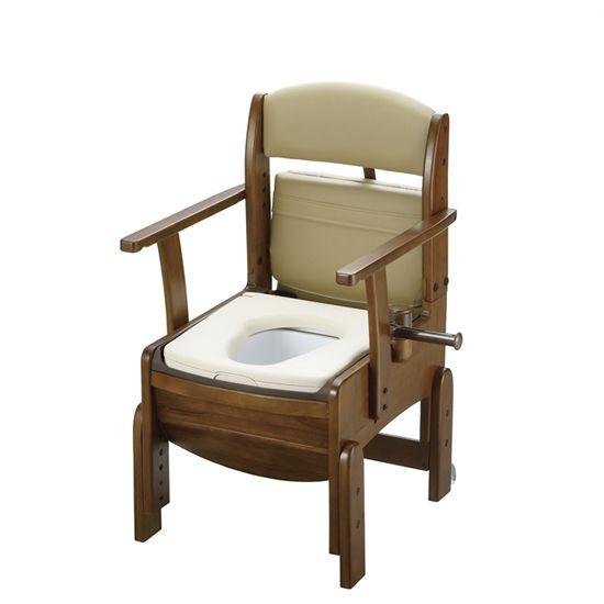 リッチェル 木製トイレ きらく コンパクト (固定式肘掛けタイプ) やわらか便座 18520