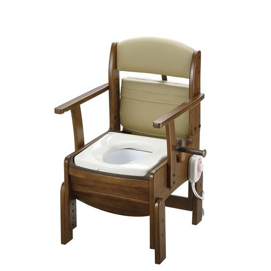 リッチェル 木製トイレ きらく コンパクト (固定式肘掛けタイプ) 暖房便座 18530