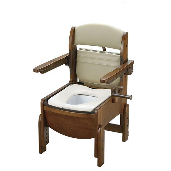リッチェル 木製トイレ きらく コンパクト (跳ね上げ式肘掛けタイプ) 普通便座 18550