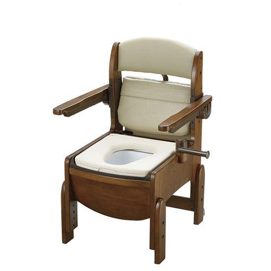 リッチェル 木製トイレ きらく コンパクト (跳ね上げ式肘掛けタイプ) やわらか便座 18560