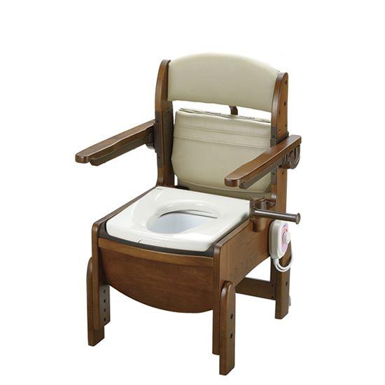 リッチェル 木製トイレ きらく コンパクト (跳ね上げ式肘掛けタイプ) 暖房便座 18570