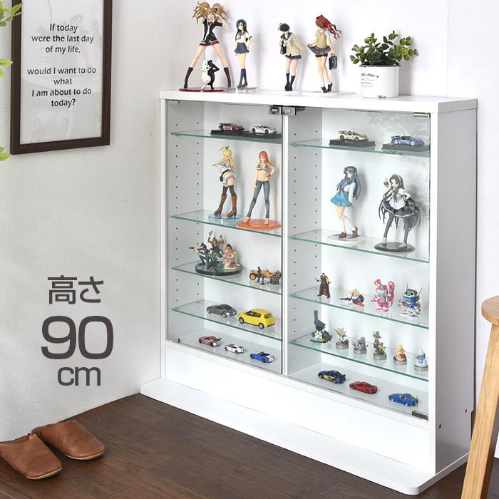 ロータイプ コレクションケース スリム 薄型 ガラス棚 可動棚 ガラス コレクションラック フィギュアラック フィギュアケース ディスプレイラック ガラスケース おしゃれ ケース ラック ディスプレイケース 収納 コレクションボード シンプル 高さ90cm 5段タイプ
