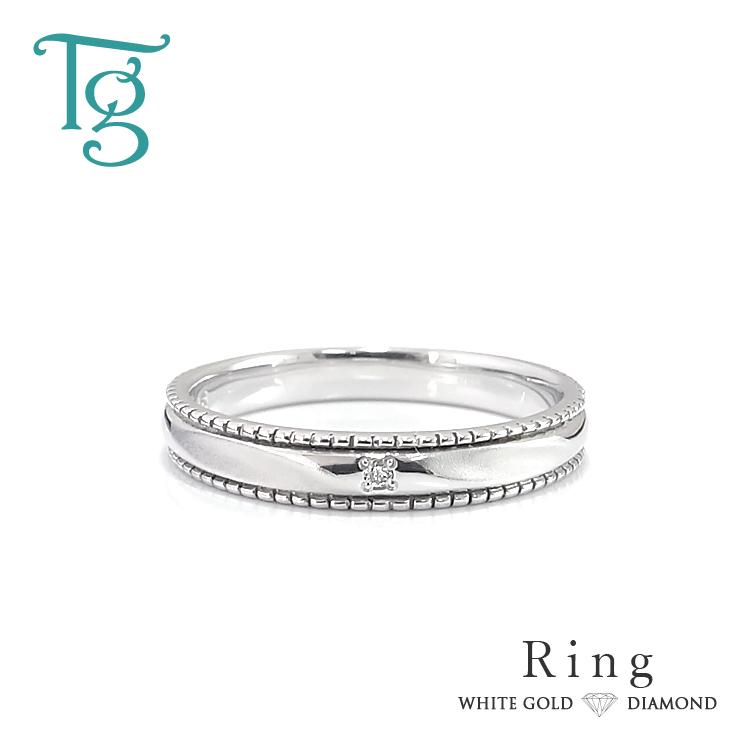 マリッジリング 結婚指輪 レディースリング ホワイトゴールド K10 ダイヤモンド ミル打ち シンプル おしゃれ 偶数サイズ 指輪【納期約4週間】