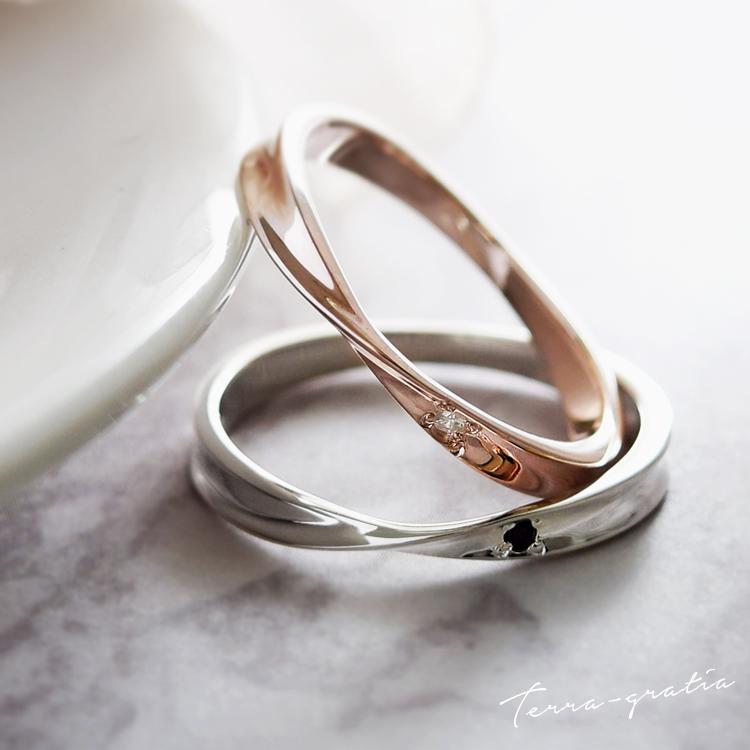 ペアリング 刻印 シルバー ピンクシルバー ダイヤモンド シンプル ひねり メビウス 細身 上品 おしゃれ 指輪 偶数サイズ マリッジリング 結婚指輪 Silver 925 クリスマスプレゼント 2本セット価格