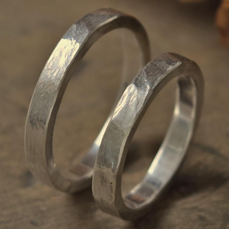 タタきのリング(細) ペアリング ハンドメイド オーダー シルバー 槌目 シンプル 上品 おしゃれ 指輪 Silver 950 マモる