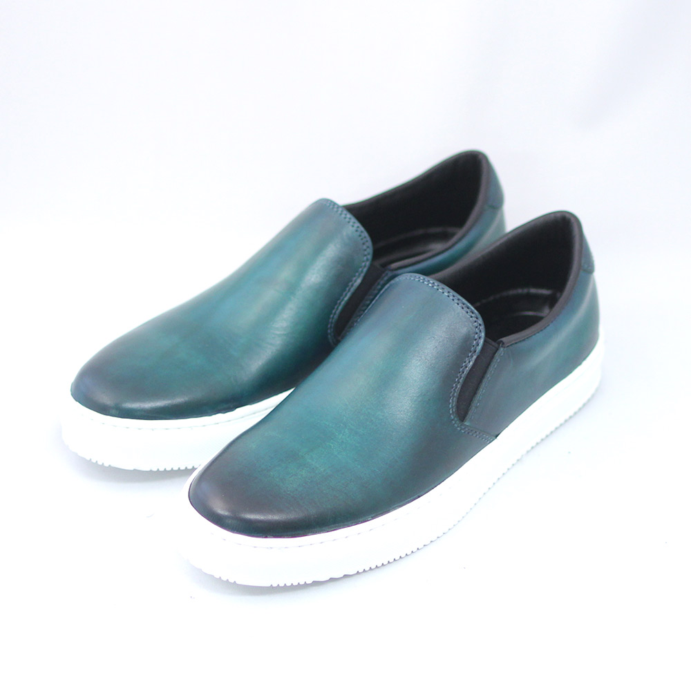TERRA SHOE おしゃれ STORE スリッポン グリーン 70%OFFアウトレット 紳士靴 スニーカー 本革 25.5cm~26.5cm