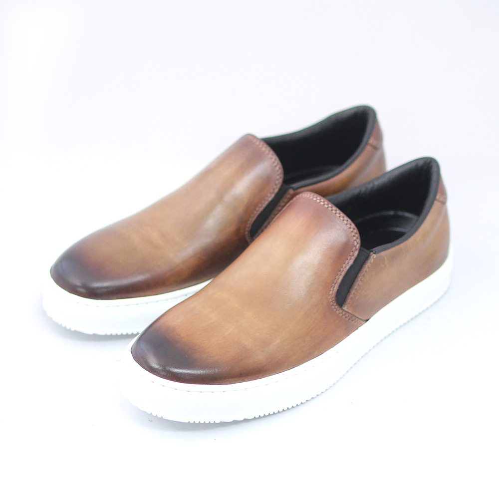 TERRA SHOE STORE スリッポン ライトブラウン キャンペーンもお見逃しなく 紳士靴 お求めやすく価格改定 本革 スニーカー 25cm~26.5cm