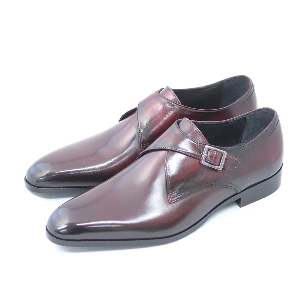 TERRA SHOE STORE 買物 休み モンクストラップ ワイン 本革 25cm~26.5cm 紳士靴 ビジネスシューズ