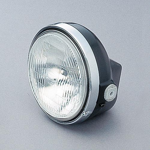 デイトナ(DAYTONA)バイク用バルブ付き汎用ヘッドライトMサイズ[ブラック/クロームメッキ]22713