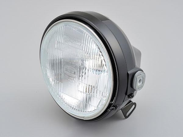 デイトナ(DAYTONA) バイク用バルブ付き汎用ヘッドライト Mサイズ [ブラック/ブラック] 22714