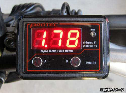 プロテック 12Vバイク専用 デジタル タコ&ボルトメーター TVM-01 11294