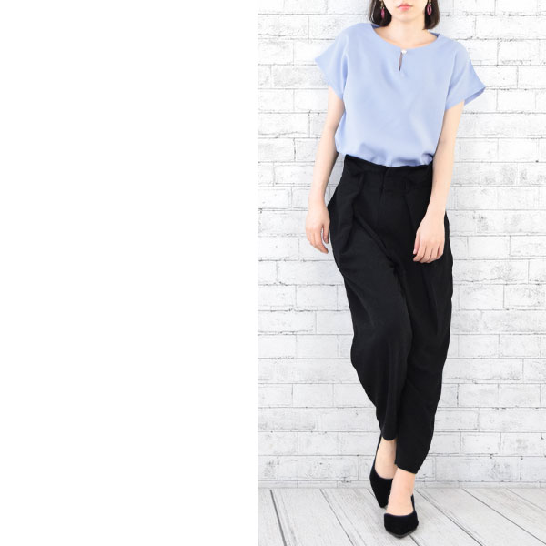 73ebc99ad499fa Blouse short sleeves Lady s office tops wide box cut-and-sew pearl shirt  unhurried no-collar plain fabric Shin pull casual adult office casual summer