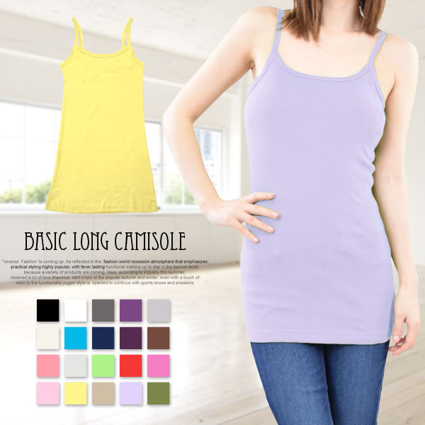 02bfaa99c35 terracotta: Tank top Camisole ladies long length solid color M L LL ...