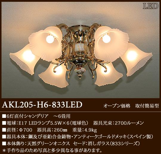 AKL205-H6-833LED アカネライティング スペイン製SeriesA グリーンオニクス 833ガラス6灯 直付シャンデリア  [LED電球色][~6畳]