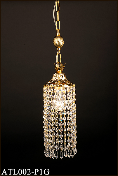 ATL002-P1G アカネライティング トルコイスタンブール製ガラスビーズ ゴールド1段 チェーン吊ペンダント [白熱灯]