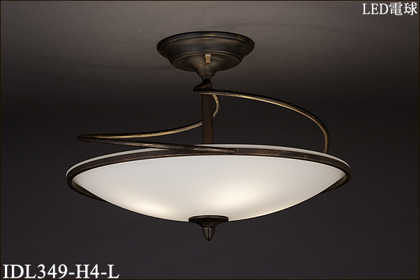 IDL349-H4-L アカネライティング イタリア製スカヴォ風ガラス 4灯 パイプ吊シャンデリア  [LED電球色]