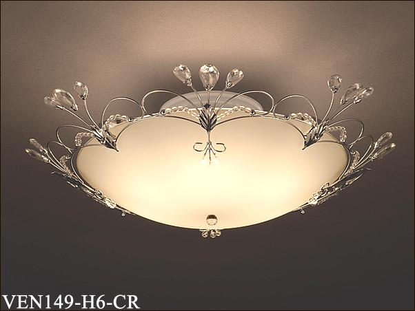 VEN149-H6-CR アカネライティング イタリア製クリアガラスビーズ クローム シーリングライト [8畳][白熱灯]