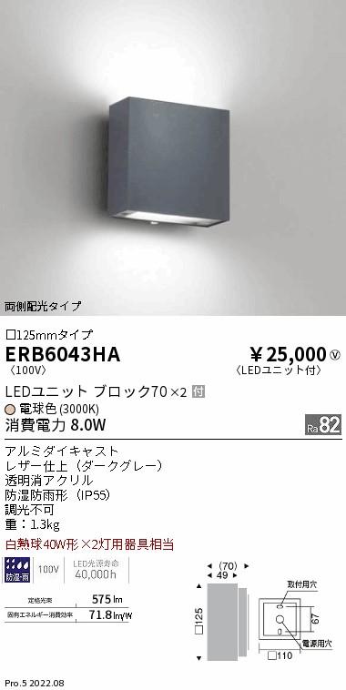 ERB6043HA ENDO アウトドアポーチライト [LED電球色][ダークグレー]