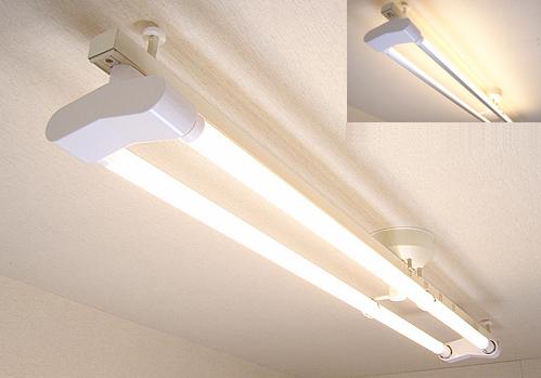 あす楽 平日午前中のご注文即日発送 送料無料 KRS-2A-WH-SET-L カメダデンキ 期間限定今なら送料無料 カメダレールソケットW LED電球色 アウトレット あす楽対応 電球色LEDランプセット ホワイト 配線ダクト用LEDベースライト2灯タイプ