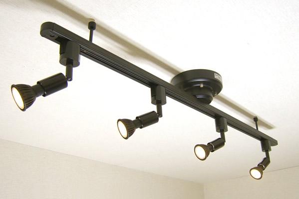 ダクトレール セット MR719-SPECIAL08-PLUS てるくにオリジナルセット ワンタッチ簡易式ダクトレール ブラックダイクロハロゲン形調光対応電球色LED スポットライト4個 あす楽対応