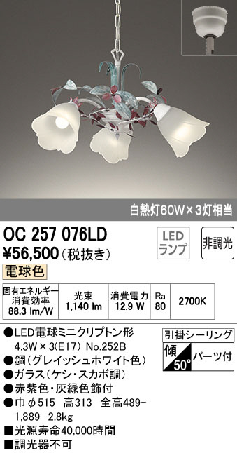 OC257076LD オーデリック 非調光 チェーン吊シャンデリア [LED電球色]