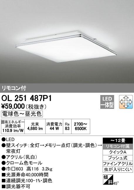 OL251487P1 オーデリック Duetto ドゥエット 調光・調色タイプ シーリングライト [LED][~12畳]