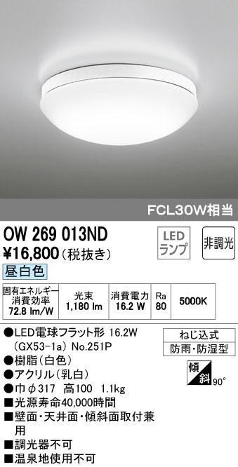 OW269013ND オーデリック バスルームライト [LED昼白色] あす楽対応