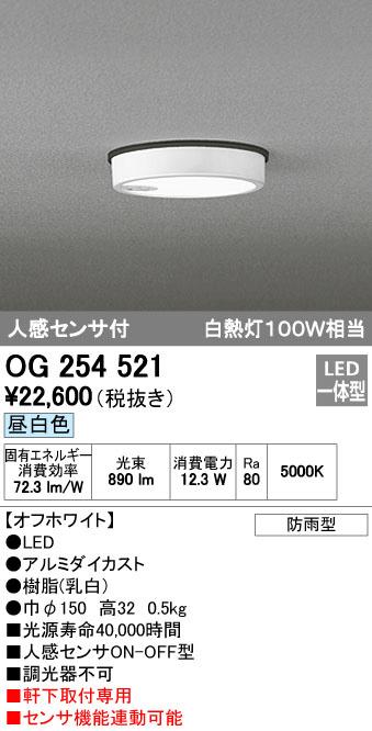 OG254521 オーデリック FLAT PLATE フラットプレート エクステリア 人感センサ付 アウトドア軒下灯 [LED昼白色][オフホワイト]