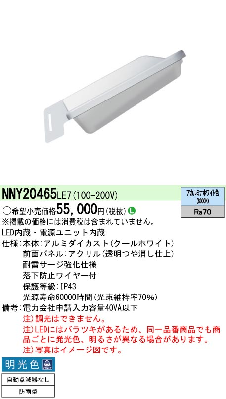 NNY20465LE7 パナソニック EVERLEDS AreaLux(エリアルクス) 防犯灯 防雨型 [LED]