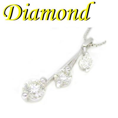 1-1909-02008 ASDT ◆ K18 ホワイトゴールド トリロジー ペンダント & ネックレス ダイヤモンド 1.00ct