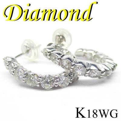 1-1411-99001 ASDZ ◆ K18 ホワイトゴールド ダイヤモンド デザイン フープ ピアス