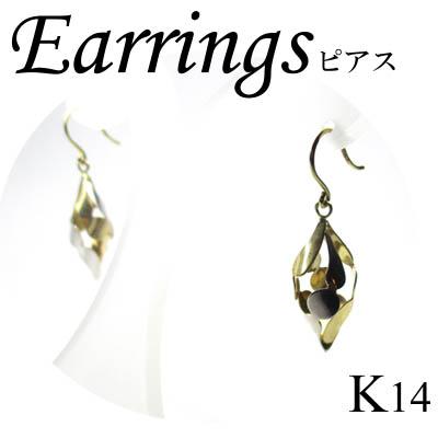 ◆ K14 2カラーゴールド デザイン ピアス(1-1603-08022 ADR)