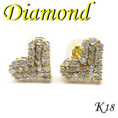 ◆ K18 イエローゴールド ダイヤモンド ハート ピアス(1-1407-04010 RDZ)