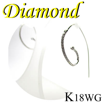 1-1408-99004 GDI ◆ K18 ホワイトゴールド ダイヤモンド デザイン ピアス