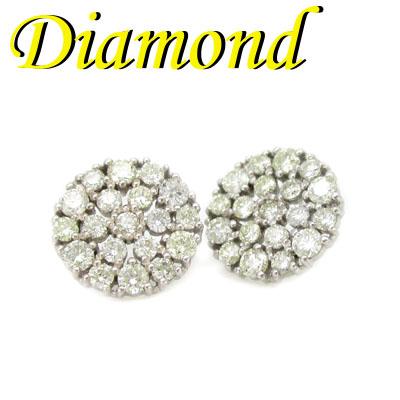 1-2001-03021 UDM ◆ K18 ホワイトゴールド ダイヤモンド 1.00ct ピアス