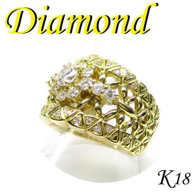1-1705-07024 AGD ◆ K18 イエローゴールド リング  ダイヤモンド 0.962ct 13号