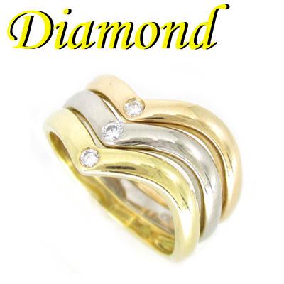 1-1903-05013 TDT ◆ K18 3カラーゴールド 3連 リング ダイヤモンド 11.5号