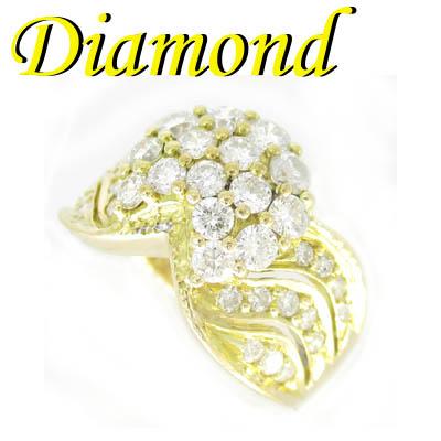 1-1904-02003 IDS ◆ K18 イエローゴールド デザイン リング ダイヤモンド 1.48ct 14号