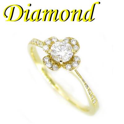 1-1907-08021 TDT ◆ K18 イエローゴールド フラワー リング ダイヤモンド 0.311ct 10.5号