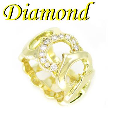 ◆ K18 イエローゴールド デザイン リング ダイヤモンド 0.24ct 11.5号(1-1910-02028 IDK)
