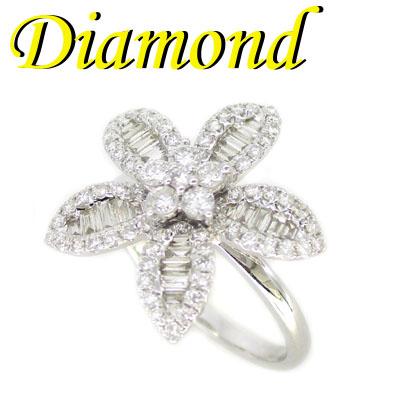 ◆ K18 ホワイトゴールド フラワー リング ダイヤモンド 1.00ct 12号(1-2001-03041 IDU)