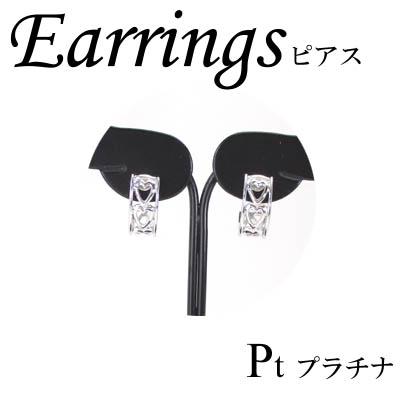 1-1702-06022 ADK ◆ Pt900 プラチナ デザイン フープ ピアス ハート