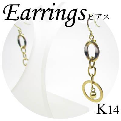 ◆ K14 2カラーゴールド デザイン ピアス(1-1503-05008 ADR)
