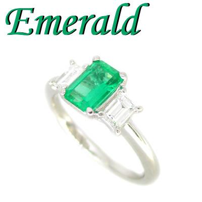1-1910-06014 IDU ◆ Pt900 プラチナ リング エメラルド & ダイヤモンド 10.5号