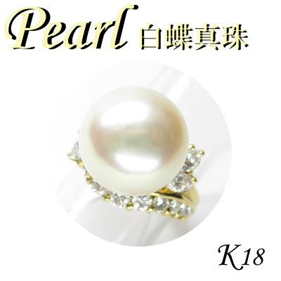 1-1403-02036 MDT ◆ K18 イエローゴールド リング 白蝶 真珠 & ダイヤモンド 6.5号