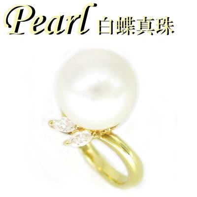 ◆ K18 イエローゴールド リング 白蝶 真珠 & ダイヤモンド 13号(1-1903-02004 KDU)