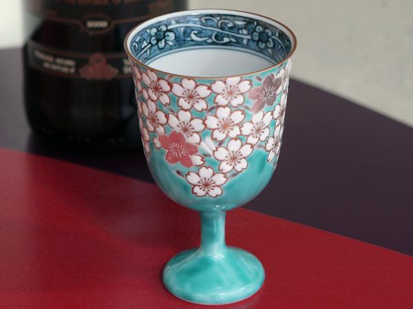 ワインカップ 京焼清水焼 桜花紋ワイングラス ブルー■双楽窯
