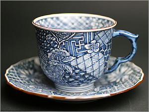 カップ&ソーサー 京焼清水焼 コーヒーカップ&ソーサー 染付祥瑞草花紋珈琲碗皿■双楽窯