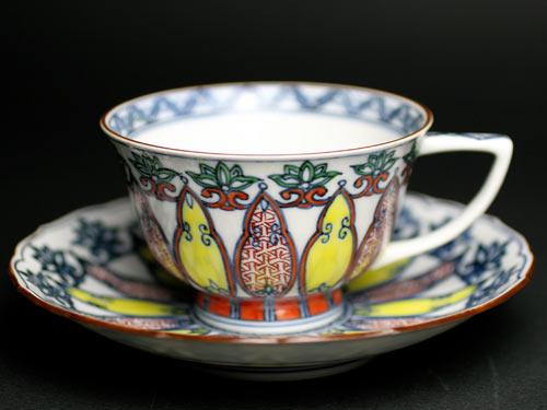 カップ&ソーサー 京焼清水焼 幾何紋赤絵小紋珈琲碗皿■双楽窯