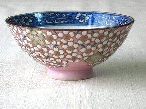 ご飯茶碗 京焼清水焼 銀彩桜花紋めし茶碗 ちゃわん■双楽窯